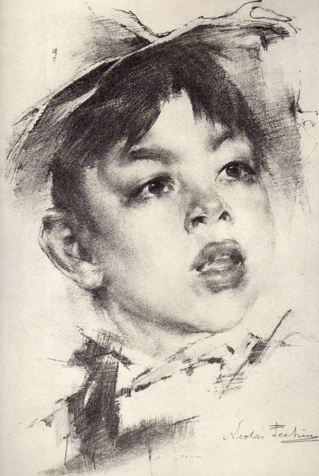 他的素描头像用炭条,软纸笔画在坚实粗糙的纸上