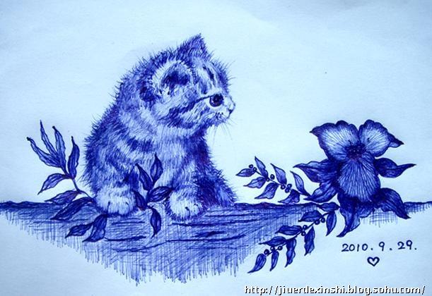 圆珠笔画 猫猫 - 九儿的心事的博客