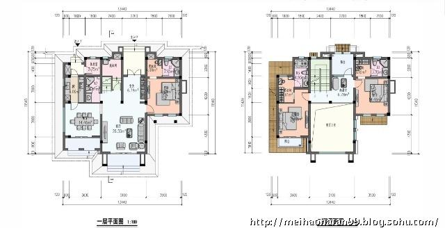 别墅首层平面图设计图cad展示
