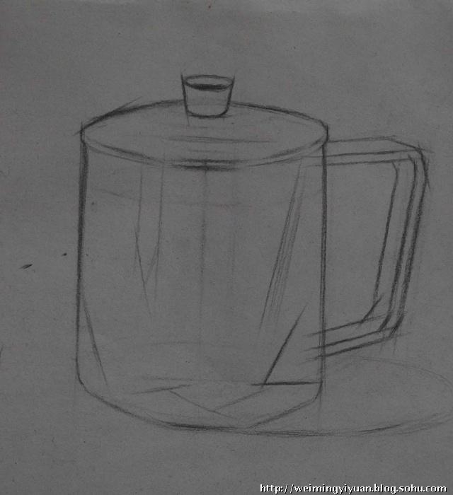 不锈钢杯素描写生