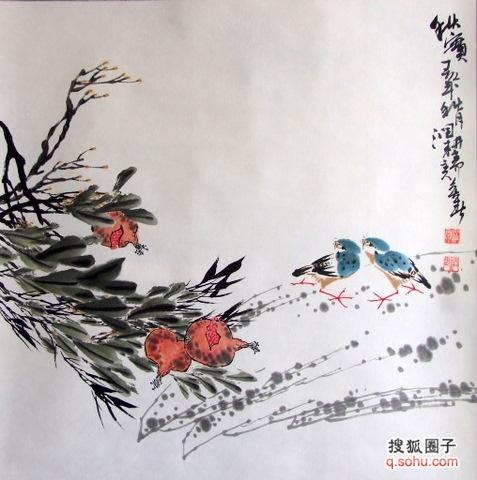 润石国画花鸟作品欣赏