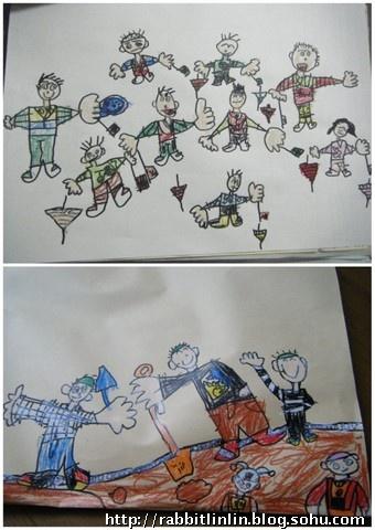回来后,便在幼儿园画了一副『海滩风景图』,最左边那个戴眼镜的女人
