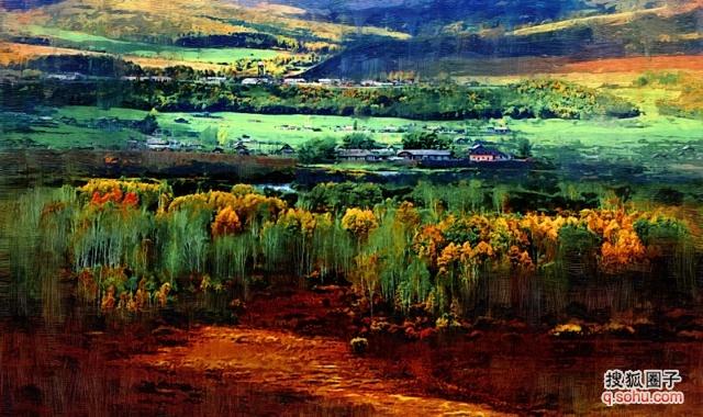 油画---照片与风景之间----这是我的家乡