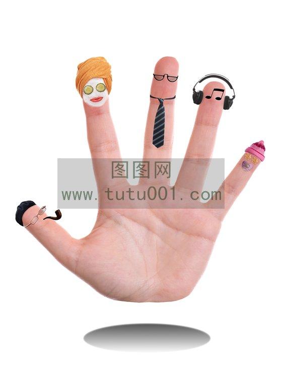 手指上不同身份的家庭成员图片