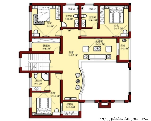 二层平面规划设计图;; 上海松江500平米别墅改运设计规划; 贾八办